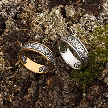 Серебряное кольцо «Спаси и сохрани» с позолотой KLSP01
