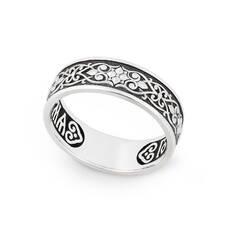 Православное кольцо из серебра с молитвой Спаси и сохрани KLS01