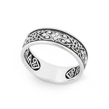 Серебряное кольцо с молитвой «Спаси и сохрани» KLS01