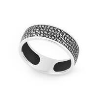 Кольцо с молитвой Отче Наш серебряное с чернением KLS03
