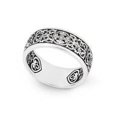 Венчальное кольцо с молитвой Петру и Февронии (серебряное) KLS05