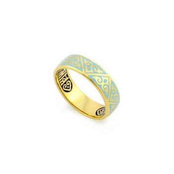 Кольцо молитва «Спаси и сохрани» серебро с эмалью бирюзового цвета KLSPE0101