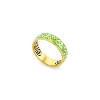 Кольцо «Спаси и сохрани» серебро с эмалью зеленого цвета KLSPE0102