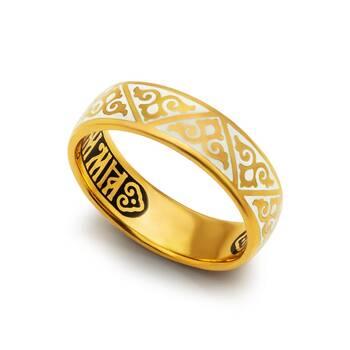Кольцо серебряное «Спаси и сохрани» эмаль белого цвета KLSPE0103