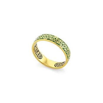 """Серебряное кольцо """"Спаси и сохрани"""" с темно-зеленой эмалью KLSPE0106"""