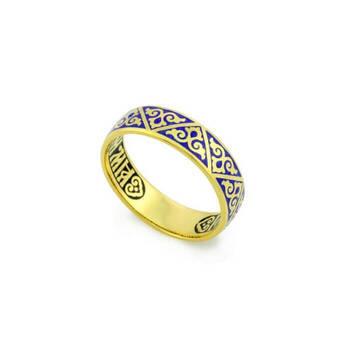 """Кольцо серебряное """"Спаси и сохрани"""" с темно-синей эмалью KLSPE0108"""