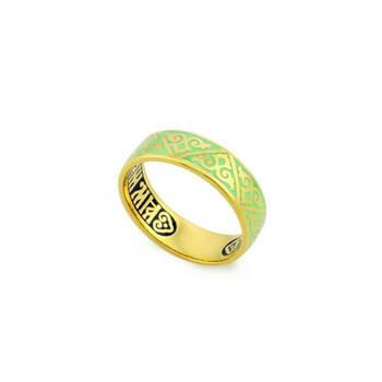 """Серебряное кольцо """"Спаси и сохрани"""" с эмалью салатового цвета KLSPE0111"""