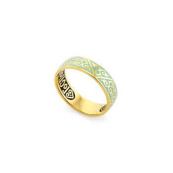"""Кольцо позолоченное """"Спаси и сохрани"""" (эмаль бирюзового цвета) KLSPE0112"""