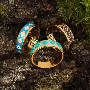 """Кольцо """"Спаси и сохрани"""" серебряное с эмалью светло-бирюзово и бирюзового цвета KLSPE0209"""