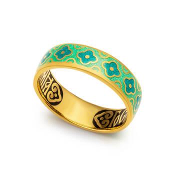 """Кольцо """"Спаси и сохрани"""" православное из серебра с эмалью бирюзово-зеленого цвета KLSPE0202"""