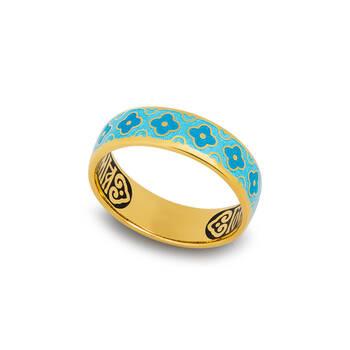 Колечко с молитвой «Спаси и сохрани» серебряное с эмалью сине-голубого цвета KLSPE0205