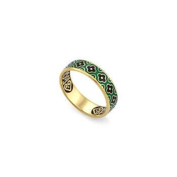"""Кольцо охранное """"Спаси и сохрани"""" серебряное с эмалью зелено-черного цвета KLSPE0206"""