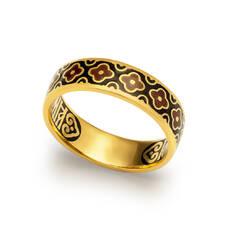 """Серебряное кольцо """"Спаси и сохрани"""" с эмалью шоколадно-черного цвета KLSPE0210"""
