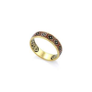 """Серебряное кольцо """"Спаси и сохрани"""" с эмалью красно-черного цвета KLSPE0211"""