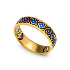 """Кольцо """"Спаси и сохрани"""" из серебра с эмалью черно-синего цвета KLSPE0213"""