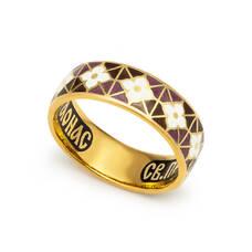 Кольцо с молитвой Серафиму Саровскому серебряное с эмалью белого и шоколадно-сиреневого цвета KLSPE0301