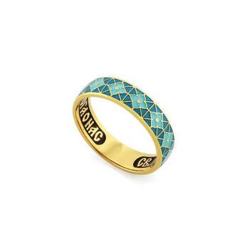 Православное серебряное кольцо молитва Серафиму Саровскому с эмалью бирюзового цвета KLSPE0302