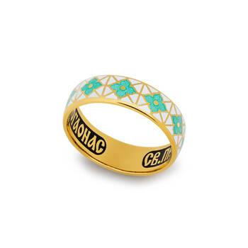Кольцо молитва Серафиму Саровскому серебряное с эмалью KLSPE0305