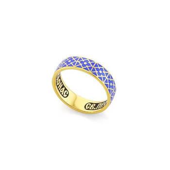 Православное кольцо молитва Серафиму Саровскому серебряное с эмалью KLSPE0307
