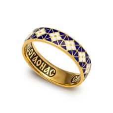 Кольцо с молитвой Серафиму Саровскому с эмалью (серебряное) KLSPE03