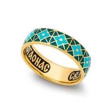 Кольцо с молитвой Серафиму Саровскому серебряное с эмалью зелено-бирюзового и голубого цвета KLSPE0310