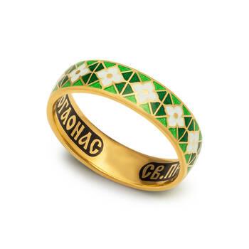 Кольцо с молитвой Серафиму Саровскому серебряное с эмалью зелено-салатового и белого цвета KLSPE0312