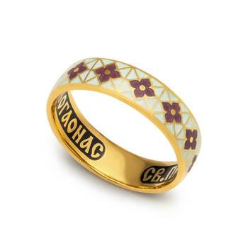 Кольцо молитва Серафиму Саровскому серебряное с эмалью бело-сиреневого цвета KLSPE0314