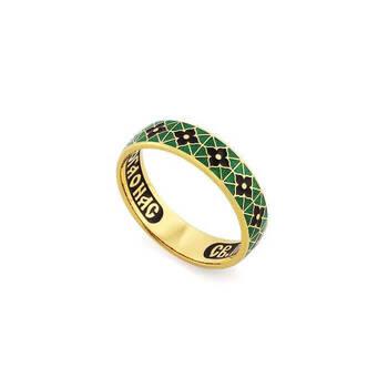 Кольцо православное молитва Серафиму Саровскому серебряное с эмалью черно-зеленого цвета KLSPE0317