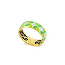 Кольцо православное с молитвой Серафиму Саровскому серебряное с эмалью зелено-салатового и белого цвета KLSPE0318