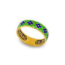 Кольцо с молитвой Серафиму Саровскому с эмалью (серебряное) KLSPE0319