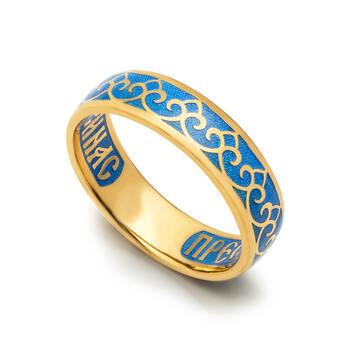Кольцо с молитвой Пресвятой Богородице серебряное с синей эмалью KLSPE0403
