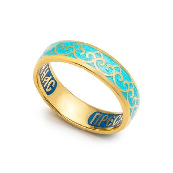 Кольцо с молитвой Пресвятой Богородице серебряное с эмалью голубого цвета KLSPE0404