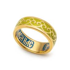 Кольцо с молитвой Пресвятой Богородице с эмалью (серебряное) KLSPE0412