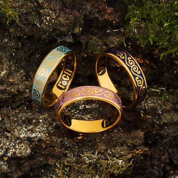 """Серебряное кольцо """"Спаси и сохрани"""" с эмалью сиреневого цвета KLSPE0511"""