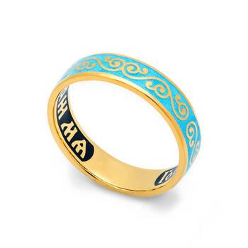 """Серебряное православное кольцо """"Спаси и сохрани"""" с эмалью светло-голубого цвета KLSPE0503"""