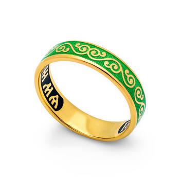 Серебряное колечко «Спаси и сохрани» с эмалью зеленого цвета KLSPE0508