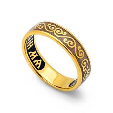 """Кольцо серебряное """"Спаси и сохрани"""" с эмалью шоколадного цвета KLSPE0512"""