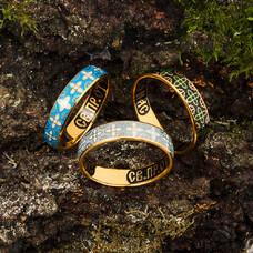 Кольцо с молитвой Сергию Радонежскому с эмалью (серебряное) KLSPE06