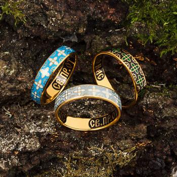 Кольцо православное молитва Сергию Радонежскому серебряное с эмалью KLSPE06