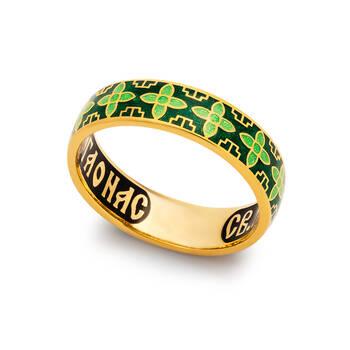 Кольцо серебряное с молитвой Сергию Радонежскому православное из серебря с эмалью зелено-салатового цвета KLSPE0602