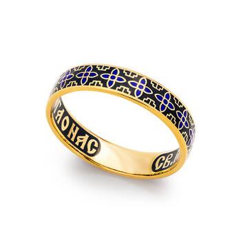 Кольцо серебряное молитва Сергию Радонежскому серебряное с эмалью сине-черного цвета KLSPE0605
