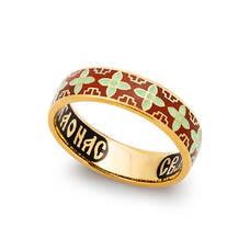 Кольцо с молитвой Сергию Радонежскому серебряное с эмалью красно-желтого цвета KLSPE0620