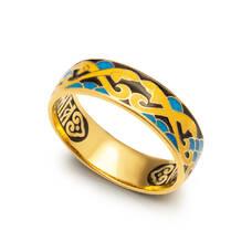 """Кольцо """"Спаси и сохрани - Рыбки Христовы"""" серебряное с эмалью KLSPE0702"""
