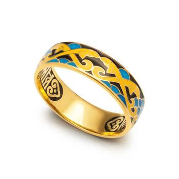 """Серебряное кольцо """"Спаси и сохрани-Рыбки Христовы"""" с эмалью желто-бирюзово-черного цвета KLSPE0702"""
