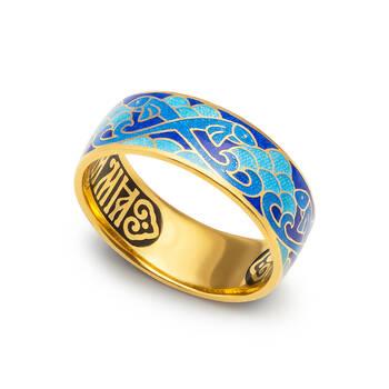 """Серебряное кольцо """"Спаси и сохрани-Рыбки Христовы"""" с эмалью светло-голубого и синего цвета KLSPE0705"""