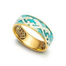 """Кольцо """"Спаси и сохрани - Рыбки Христовы"""" серебряное с эмалью KLSPE0707"""