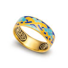 """Серебряное кольцо """"Спаси и сохрани-Рыбки Христовы"""" с эмалью желтого и сине-голубова цвета KLSPE0708"""