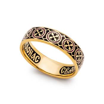 Кольцо православное молитва Николаю Чудотворцу серебряное с эмалью KLSPE0803