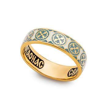 Кольцо православное молитва Николаю Чудотворцу серебряное с эмалью KLSPE0809