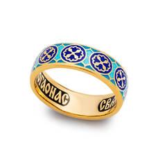 Кольцо с молитвой Николаю Чудотворцу с эмалью (серебряное) KLSPE08